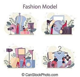 neu , begriff, mode, mann, kleidung, darstellen, modell, frau, set.