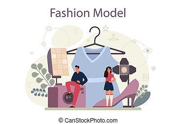 neu , concept., kleidung, mannequin, frau, darstellen, mann