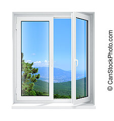Neu geöffnetes Plastikglasfensterrahmen isoliert.