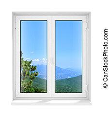 Neu geschlossenes Plastikglasfensterfenster isoliert