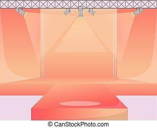 neu , mode, laufsteg, illustration., wohnung, area., shows, demonstration, podium, farbe, leerer , orange, darstellung, stage., startbahn, woche, arbeitsbühne, hintergrund, collection., vektor, spotlights.