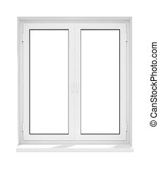 Neuer geschlossener Fensterrahmen aus Kunststoff.