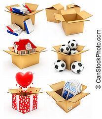 Neues Haus, Herz, Fenster, Bücher und Bälle in Box.
