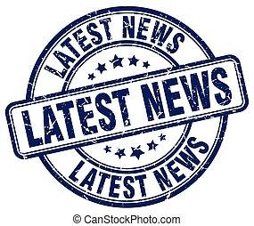 Neueste Neuigkeiten: Blue grunge Round Vintage Gummi Stempel.