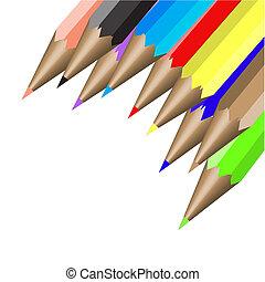 neun, farbe, bleistifte, abbildung, vektor