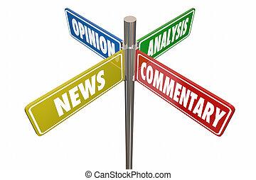 News-Analyse Stellungnahme Kommentare Straßenschilder 3D Illustration.