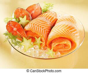 Norwegischer Lachs auf einem Teller