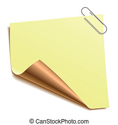 Notiz mit Büroklammer