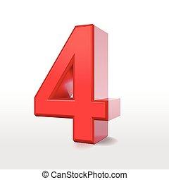 nr. 4, rotes , 3d