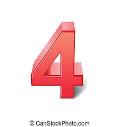 nr. 4, rotes , glänzend, 3d