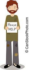 Obdachlose bitten um Hilfe. Vector Illustration