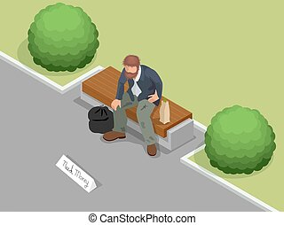 Obdachlose. Dreckiger, obdachloser Mann mit Schild, der um Hilfe bittet. Flat 3d isometrische Vektorgrafik. Soziales Problemkonzept.