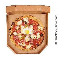 oberseite, kasten, freigestellt, pizza, hintergrund, italienesche, ansicht., weißes
