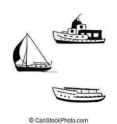 Ocean Transport eingestellt. Segel- und Motorboote, Jacht, Motorboot.