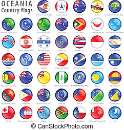 Oceania National Flag Buttons eingestellt