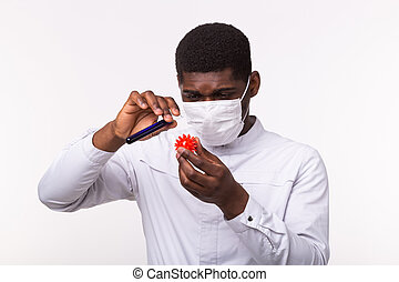 oder, besitz, doktor, coronavirus, modell, concept., laborant, covid-19., impfstoff, entwicklung, hand., medizin, menschliche , rohr