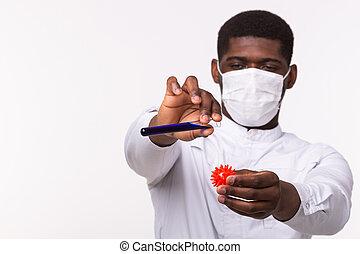 oder, entwicklung, concept., menschliche , rohr, hintergrund, laborant, medizin, besitz, covid-19., impfstoff, weißes, kopie, modell, doktor, space., hand., coronavirus