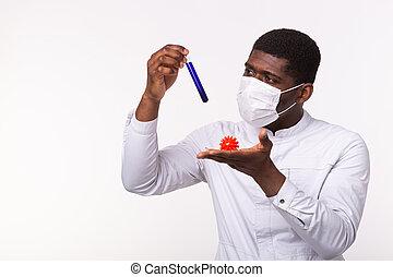 oder, entwicklung, coronavirus, modell, menschliche , concept., hand., rohr, besitz, laborant, impfstoff, medizinischer doktor, covid-19.