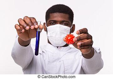 oder, entwicklung, coronavirus, modell, menschliche , concept., hand., rohr, close-up., besitz, laborant, impfstoff, medizinischer doktor, covid-19.