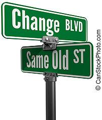 oder, gleich, altes , straße, entscheidung, wählen, änderung