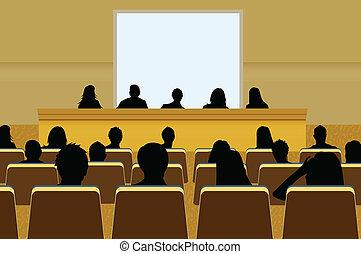 oder, hinzufügen, projektion, konferenz, geschaeftswelt, text, screen., crowd, dein, darstellung, person, kopie, audience., produkt, leer, marketing, front