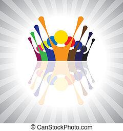 oder, spielende , auch, stimmung, einfache , angestellter, arbeiter, together-, spaß haben, festlicher, vektor, protest, kinder, graphic., belebt, buechse, gewerkschaft, aufgeregt, kinder, abbildung, leute, demonstration, darstellen, dieser