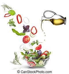 oel, freigestellt, fallender , gemuese, salat, weißes