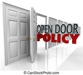 Offene Türspolitik Worte Management begrüßen Kommunikation.