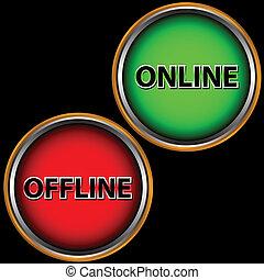 offline, online, ikone