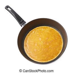 omelett, eier, kochen, kletterte, pfanne