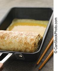 omelett, quadrat, gerollt, dashi, bratpfanne