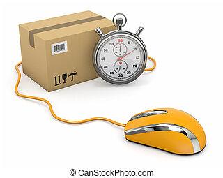 Online-Express-Lieferung. Maus, Stoppuhr und Paket.
