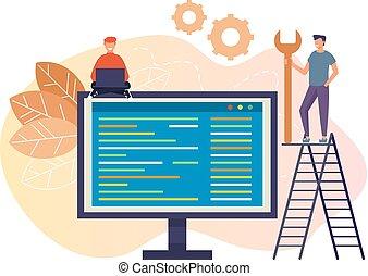Online-technische Support-Team Menschen Zeichen Konzept. Vector Flat Cartoon Grafik Design isoliert Illustration