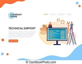 Online-technische Support-Team Menschen Zeichen Konzept. Vector Flat Cartoon Grafik Design isoliert Banner-Poster Illustration