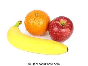 Orange, Apfel und Banane.