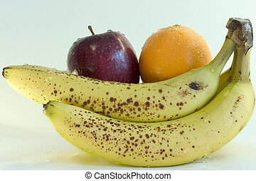 Orange, Apfel und Banane