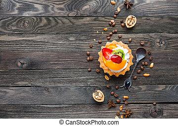 orange, schmackhaft, erdbeer, erdnüsse, pfirsich, anis, -, rustic, bohnen, gepeitscht, torte, bohnenkaffee, nachtisch, text., fruechte, hintergrund, kiwi, cream., hölzern, sternen, ort, gewürz, walnuts.