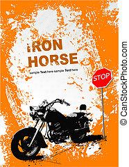 Orangegrauer Hintergrund mit Motorradbild. Vektor Illustration