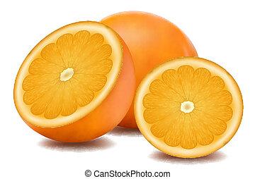 Orangenfrüchte.