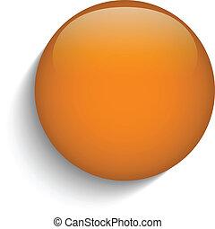 Oranger Glaskreisknopf im orangefarbenen Hintergrund.