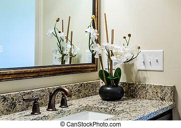 Orchideen auf Granitbad-Tanktisch.