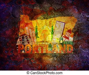 Oregon Cityscape in map grunge Hintergrund Illustration.