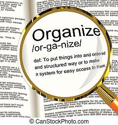 Organisieren Sie Definition Magnifier-Shows, die sich in die Struktur managieren oder arrangieren