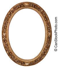 Oval goldener Bildrahmen