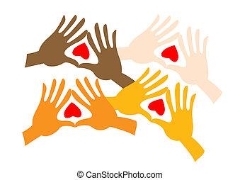 Paar farbige Hände