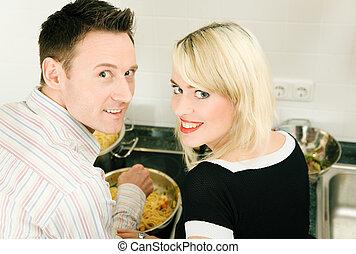 paar, kochen