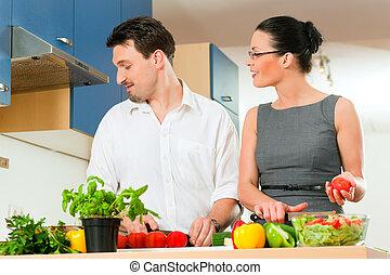 paar, kochen, zusammen, kueche