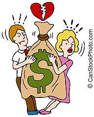 Paar streiten um Geld