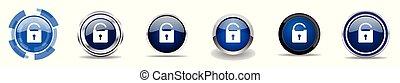 Padlock Silber metallic chrome Grenzvektoren Icons, Set von Web-Tasten, runde blaue Zeichen in Eps 10.