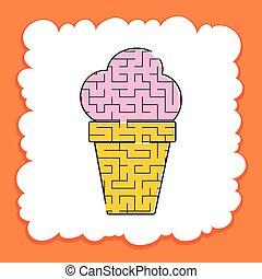 page., kinder, gefärbt, cream., conundrum., labyrinth, puzzel, appetitanregend, eis, essen., spiel, vektor, schmackhaft, aktivität, children., labyrinth, worksheets., illustration.
